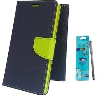 Wallet Mercury Flip Cover for Micromax Canvas A300 (BLUE) With STYLUS PEN