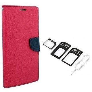 Wallet Mercury Flip Cover for Motorola Moto G (3rd gen) (PINK) With NOOSY NANO SIM ADAPTER