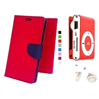Wallet Mercury Flip Cover for Samsung Galaxy Mega 2 SM-G750 (RED) With Mini clip mp3 player