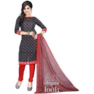 Aagaman Fashion Delightful Black Colored Printed Art Silk Salwar Kameez