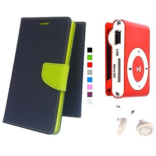 Wallet Mercury Flip Cover for Samsung Galaxy S4 GT I9500 (BLUE) With Mini clip mp3 player