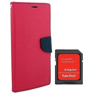 Wallet Mercury Flip Cover for REDMI MI4I  (PINK) With SD CARD ADAPTER