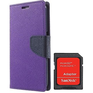 Wallet Mercury Flip Cover for HTC Desire 816 (PURPLE) With SD CARD ADAPTER
