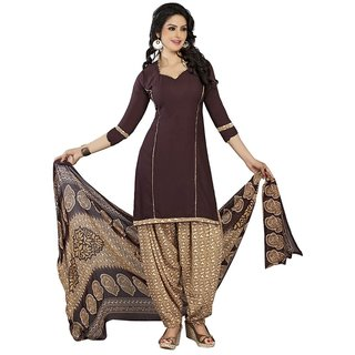 Aagaman Fashion Picturesque Brown Colored Printed Polyester Salwar Kameez