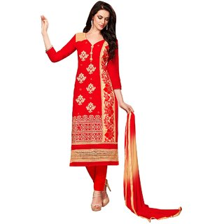 Aagaman Fashion Astounding Red Colored Embroidered Blended Cotton Salwar Kameez