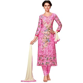 Aagaman Fashion Appreciable Pink Colored Embroidered Blended Cotton Salwar Kameez