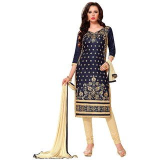 Aagaman Fashion Evoking Blue Colored Embroidered Blended Cotton Salwar Kameez