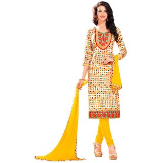 Aagaman Fashion Admirable Off White Colored Printed Blended Cotton Salwar Kameez