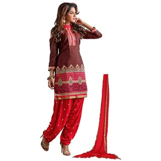 Aagaman Fashion Appealing Brown Colored Embroidered Chanderi Cotton Salwar Kameez