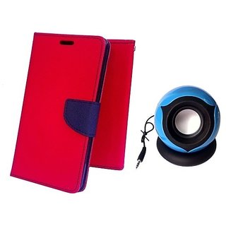 Wallet Mercury Flip Cover for Sony Xperia M5 (RED) With MOBILE SPEAKER