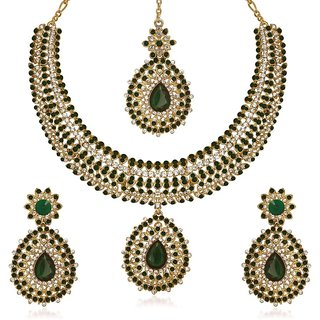 Kriaa Green Austrian Stone Gold Plated Necklace Set Maang Tikka -1105306