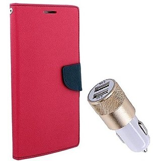 Wallet Mercury Flip Cover for Motorola Moto X Play (PINK) With Fast Car Charger