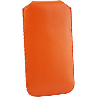 Emartbuy Sleek Range Orange PU Leather Slide in Pouch Case Cover Sleeve Holder ( Size LM2 ) With Pull Tab Mechanism Suitable For Ecoo E05 Smartphone