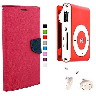 Wallet Mercury Flip Cover for Motorola Moto X Play (PINK) With Mini clip mp3 player