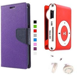 Wallet Mercury Flip Cover for Nokia Lumia 520 (PURPLE) With Mini clip mp3 player