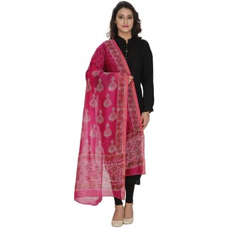 LOOM LEGACY Red Printed Women Duptta
