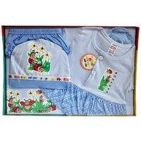 BelleGirl 100 Cotton New Born Gift Set of 5 Pcs for Girl Blue  0-3M