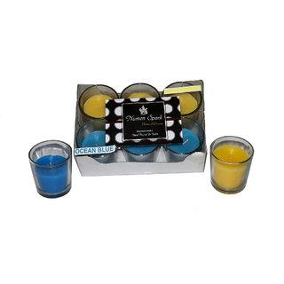 Numen Spark Ocean Blue-Antique Sandalwood Dual-Scent Votive Candle (pack of 6)