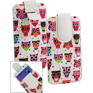 Emartbuy Multi Coloured Owls Print Premium PU Leather Slide in Pouch Case Cover Sleeve Holder ( Size LM2 ) With Pull Tab Mechanism Suitable For Lava Iris X1 Grand