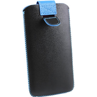 Emartbuy Black / Blue Plain Premium PU Leather Slide in Pouch Case Cover Sleeve Holder ( Size LM2 ) With Pull Tab Mechanism Suitable For Samsung Galaxy J3 V ( 2016 )