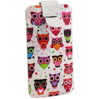 Emartbuy Multi Coloured Owls Print Premium PU Leather Slide in Pouch Case Cover Sleeve Holder ( Size LM2 ) With Pull Tab Mechanism Suitable For Wiio WI3