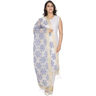 LOOM LEGACY White and Blue Self Design Women Duptta