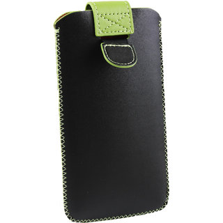 Emartbuy Black / Green Plain Premium PU Leather Slide in Pouch Case Cover Sleeve Holder ( Size LM2 ) With Pull Tab Mechanism Suitable For Archos 50f Helium Lite