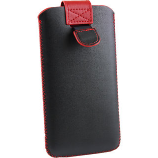 Emartbuy Black / Red Plain Premium PU Leather Slide in Pouch Case Cover Sleeve Holder ( Size LM2 ) With Pull Tab Mechanism Suitable For Panasonic Eluga Note