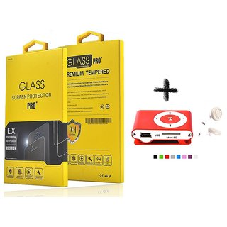 Tempered Glass Screen Protector For  Gionee Ctrl V4s With Mini Clip MP3 Player