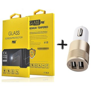 Tempered Glass Screen Protector For  Samsung Galaxy J1 Ace With 2 Port Fast Charge Usb Car Charger