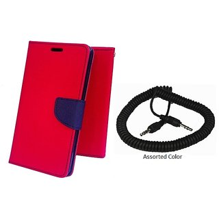 Wallet Mercury Flip Cover for Samsung Galaxy Core I8262 (RED) With SPRING AUX Cable