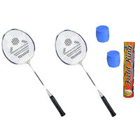 Cosco CB-885 Badminton Kit- ( 2 Racket, 2 Grip and Field King Shuttle Cock- Pack of 10 )