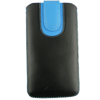 Emartbuy Black / Blue Plain Premium PU Leather Slide in Pouch Case Cover Sleeve Holder ( Size 5XL ) With Pull Tab Mechanism Suitable For Alcatel One Touch Hero 2