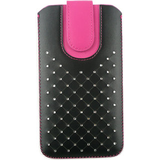 Emartbuy Black / Hot Pink Gem Studded Premium PU Leather Slide in Pouch Case Cover Sleeve Holder ( Size 5XL ) With Pull Tab Mechanism Suitable For Alcatel One Touch Hero 2