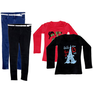 IndiWeaves Women 2 Regular Fit Denim Jeans along with belt (size-28) with 2 Cotton Printed T-Shirt (Set of -4)
