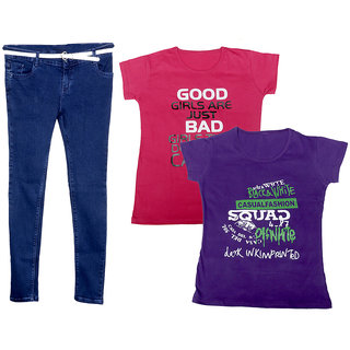 IndiWeaves Women 1 Regular Fit Denim Jeans along with belt (size-28) and 2 Cotton Printed T-Shirt (Set of -3)