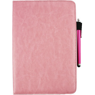 Emartbuy BQ Edison 2 Tablet PC Universal ( 9 - 10 Inch ) Baby Pink 360 Degree Rotating Stand Folio Wallet Case Cover + Stylus