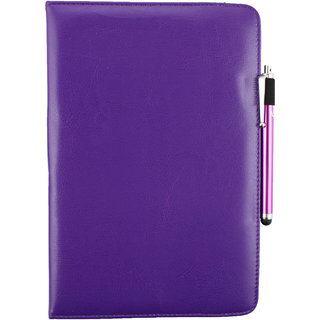 Emartbuy G53 TG1013 Windows Tablet 10.1 Inch PC Universal ( 9 - 10 Inch ) Purple 360 Degree Rotating Stand Folio Wallet Case Cover + Stylus