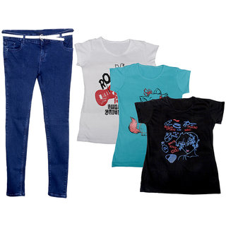 IndiWeaves Women 1 Regular Fit Denim Jeans along with belt (size-28) and 3 Cotton Printed T-Shirt (Set of -4)