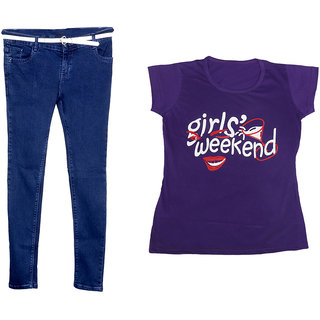 Indistar Women 1 Regular Fit Denim Jeans along with belt (size-28) and 1 Cotton Printed T-Shirt (Set of -2)