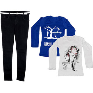 IndiWeaves Women 1 Regular Fit Denim Jeans along with belt (size-28) with 2 Cotton Printed T-Shirt (Set of -3)
