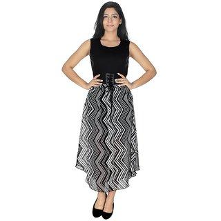 Ticsa Black White Georgette Dress