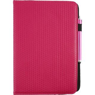 Emartbuy Bush Eluma B1 10.1 Inch Windows Tablet PC Universal ( 9 - 10 Inch ) Dark Hot Pink Padded 360 Degree Rotating Stand Folio Wallet Case Cover + Stylus