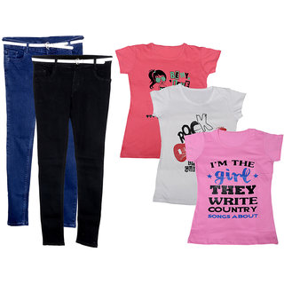IndiWeaves Women 2 Regular Fit Denim Jeans along with belt (size-28) and 3 Cotton Printed T-Shirt (Set of -5)