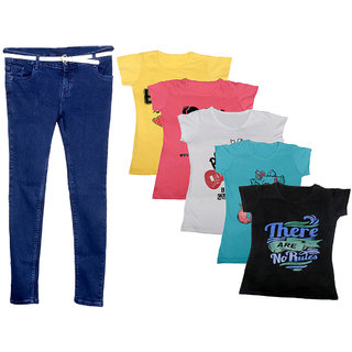 IndiWeaves Women 1 Regular Fit Denim Jeans along with belt (size-28) and 5 Cotton Printed T-Shirt (Set of -6)