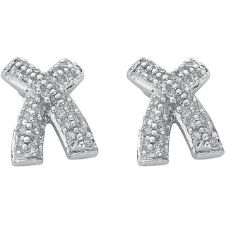 Zivaha Charming 92.5 Sterling Silver Platinum Plated Silver Stud Earring ZIE2031