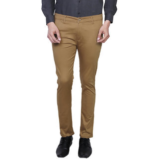 Variksh Khaki Color Cotton Casual Slim fit Trouser for men's
