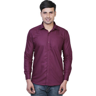 Variksh Maroon Color Cotton Casual Slim fit Shirt for men's