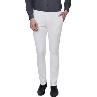 Variksh White Color Cotton Casual Slim fit Trouser for men's
