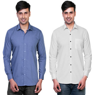 Variksh Blue and White Color Cotton Casual Slim fit Shirt for men's (Pack Of 2)